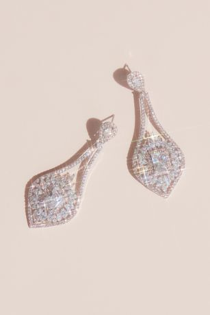 Crystal Halo Baguette Teardrop Earrings