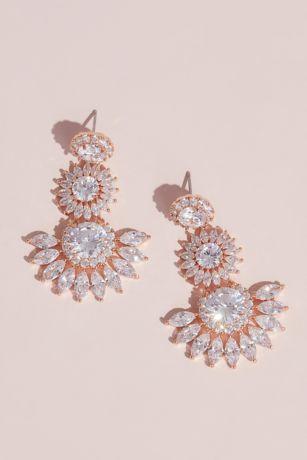 Dangling Bursting Sun Crystal Stud Earrings