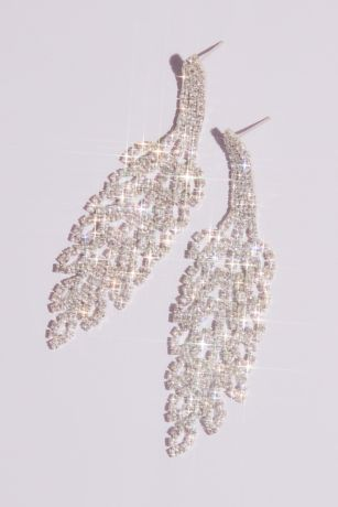 Rhinestone Leaf Motif Earrings