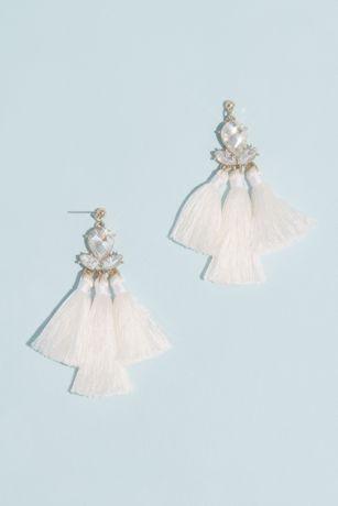 Faceted Crystal Triple Fringe Earrings