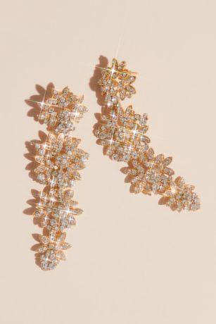 Tapered Floral Crystal Drop Earrings