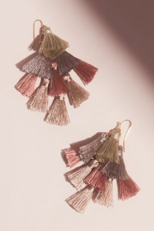 Multi Tassel Drop Earrings