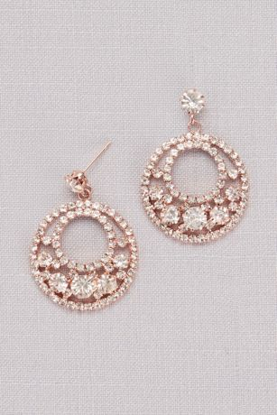 Crystal Pave Circle Drop Earrings