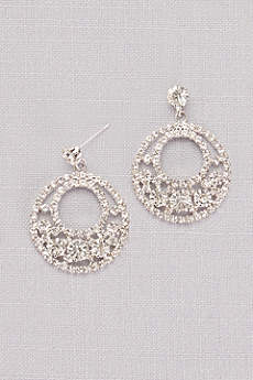 Crystal Pave Circle Drop Earrings