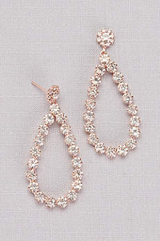 Round Crystal Teardrop Hoops