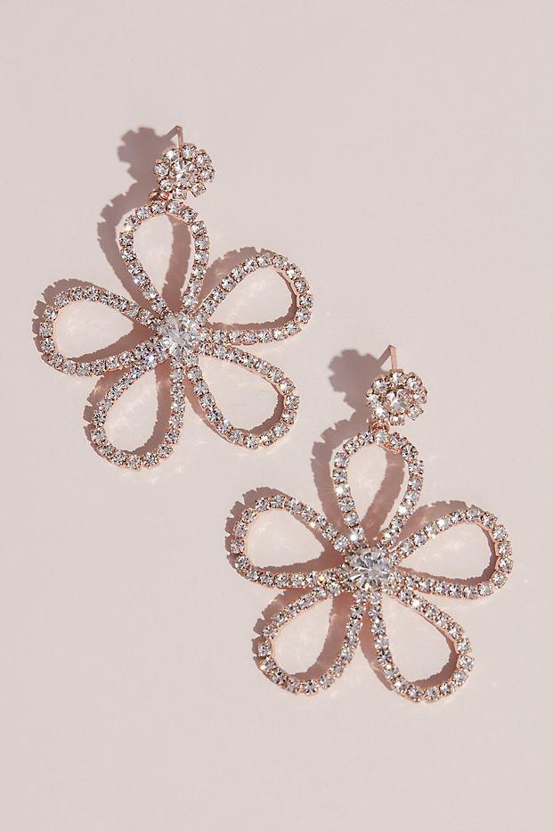 Crystal Dangling Flower Stud Earrings