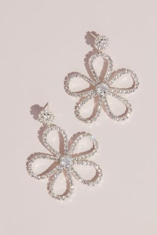 Crystal Dangling Flower Stud Earrings