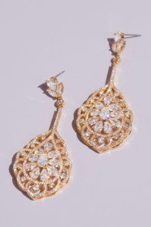 Teardrop and Marquise-Cut Crystal Swirl Earrings