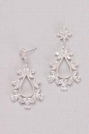 Cubic Zirconia Floral Teardrop Earrings