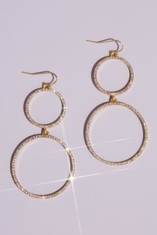 Double Crystal Hoop Drop Earrings