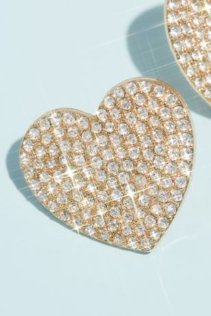 Pave Rhinestone Heart Stud Earrings