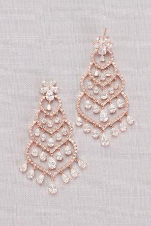 Cubic Zirconia Tiered Heart Chandelier Earrings