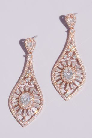 Oval and Baguette-Cut Crystal Burst Drop Earrings
