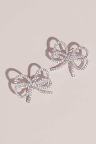 Delicate Double Strand Crystal Bow Stud Earrings