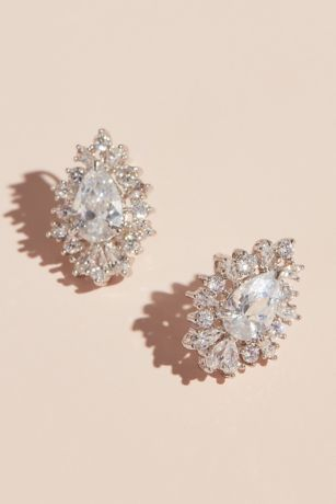 Pear Shaped Cubic Zirconia Stud Earrings with Halo