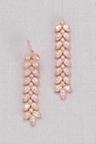 Cubic Zirconia Linear Leaf Earrings