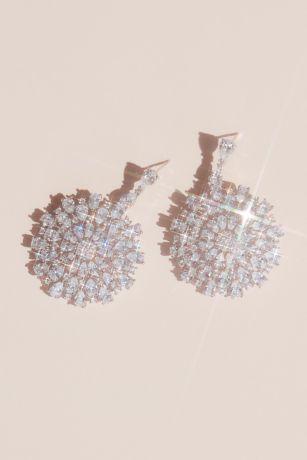 Cubic Zirconia Grand Medallion Earrings