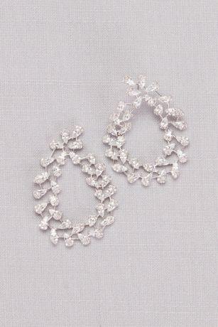 Pear-Shaped Cubic Zirconia Swirl Hoop Earrings