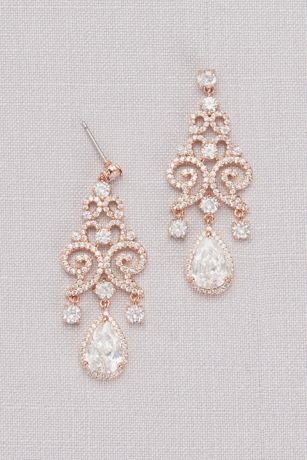 Cubic Zirconia Pave Filigree Pear Drop Earrings