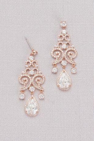 Cubic Zirconia Pave Filigree Pear Drop Earrings