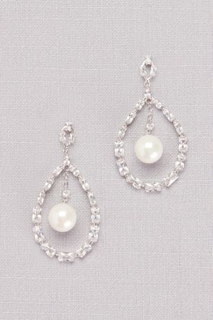 Cubic Zirconia Baguette and Pearl Drop Earrings