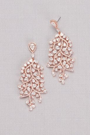 Cubic Zirconia Trailing Vine Chandelier Earrings