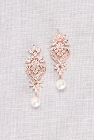 Cubic Zirconia Heart Medallion Earrings with Pearl