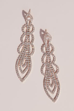 Delicate Dangling Crystal Strand Stud Earrings