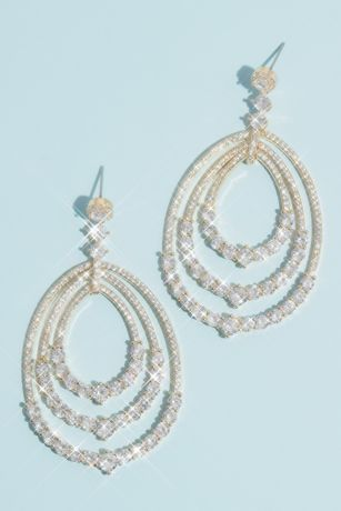 Cubic Zirconia Drop Earrings with Pave Oval Hoops
