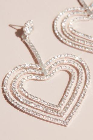 Crystal Triple Heart Drop Earrings