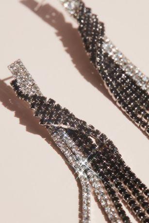 Twisted Rhinestone Fringe Shoulder Duster Earrings