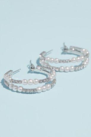 Pearl and Rhinestone Double Hoop Earrings