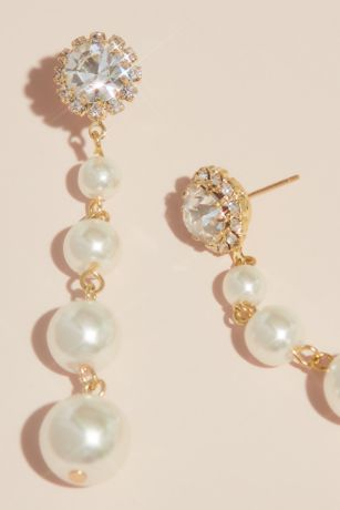 Crystal and Pearl Graduated Drop Earrings