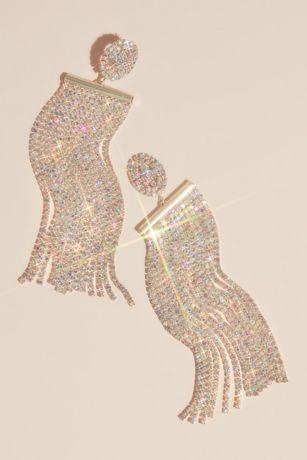 Iridescent Crystal Fringe Duster Earrings