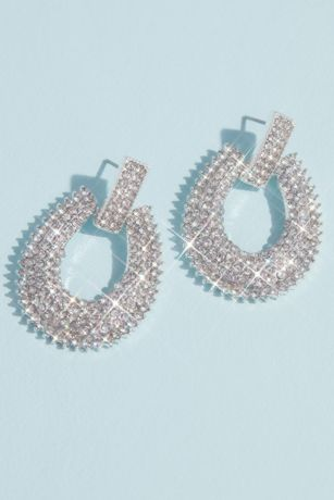 Pave Crystal Knocker Earrings with Burst Halo