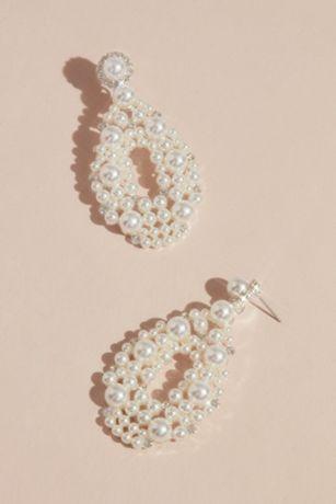 Maximalist Pearl Teardrop Hoop Earrings