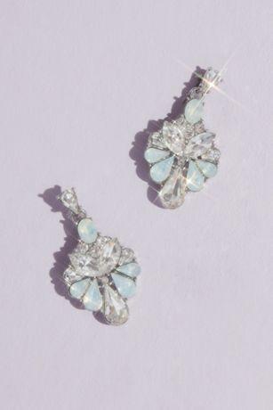 Opal and Crystal Fan Drop Earrings