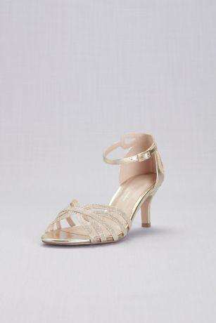 "Pink Paradox Grey;Ivory (Strappy Glitter D""Orsay Sandals with Heel Detail)"