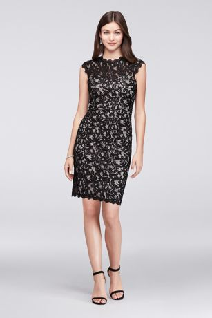 High-Neck Cap Sleeve Lace Dress