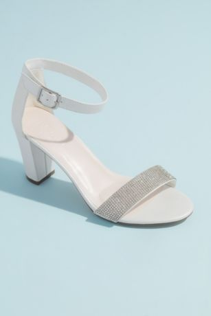 David's Bridal White Heeled Sandals (Block Heel with Crystal Toe Strap)