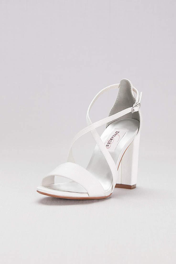 48fd2abb01 Dyeables White (Dyeable Crisscross Strap Block Heel Sandals)