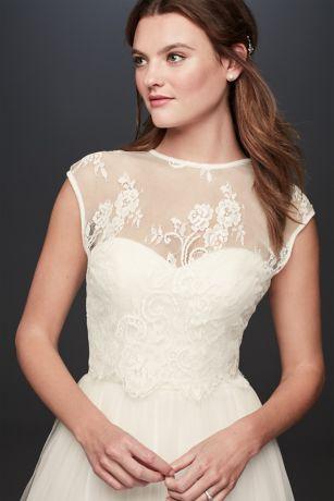 Open Back Lace Cap Sleeve Wedding Dress Topper