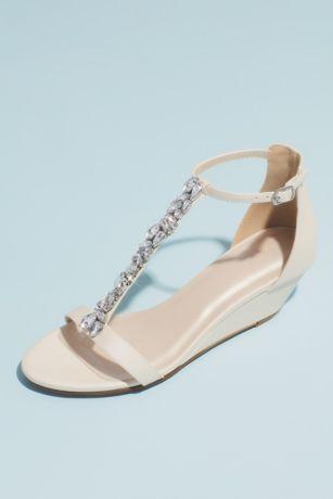 David's Bridal Ivory;Pink Wedges (Crystal Encrusted T-Strap Metallic Wedge Sandals)