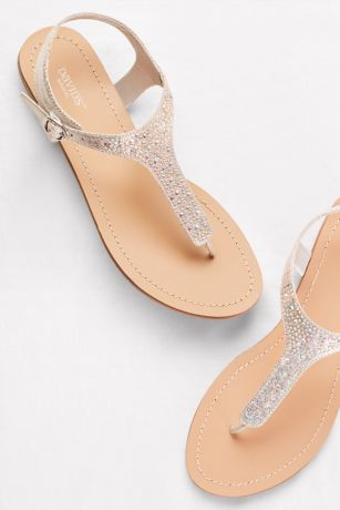 2e9d8a13264 David s Bridal Grey Flat Sandals (Metallic T-Strap Thong Sandals with  Crystals)