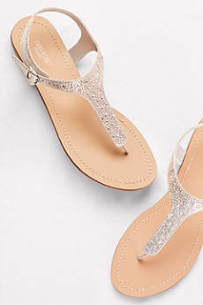 Metallic T-Strap Thong Sandals with Crystals