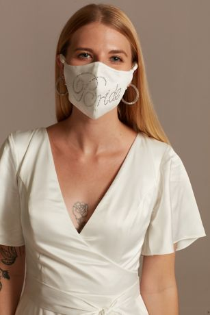 Crystal Bride Satin Loop Fashion Face Mask