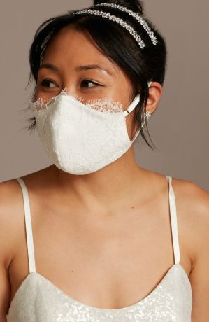 Eyelash Lace and Satin Loop Fashion Face Mask