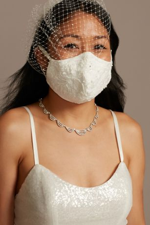 Beaded Lace and Satin Adjustable Loop Face Mask