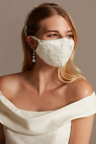 Corded Lace Applique Satin Fashion Face Mask