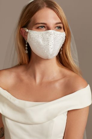 Scattered Crystal Satin Fashion Face Mask